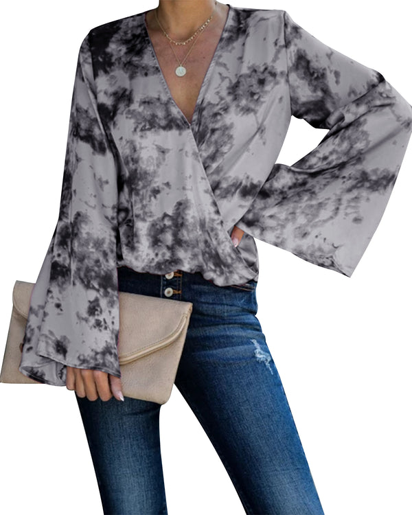 Womens Bell Sleeve Tops Tie Dye Sexy Casual Loose Pleated Shirt