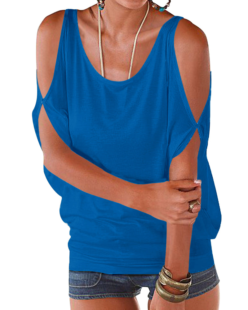 Women Scoop Neck Cold Shoulder Tops - Coendy