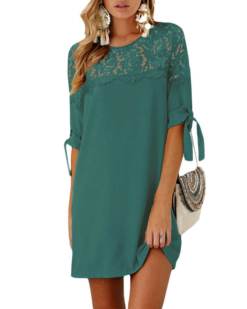 Women's summer loose tunic with bowknot sleeves dress - Coendy