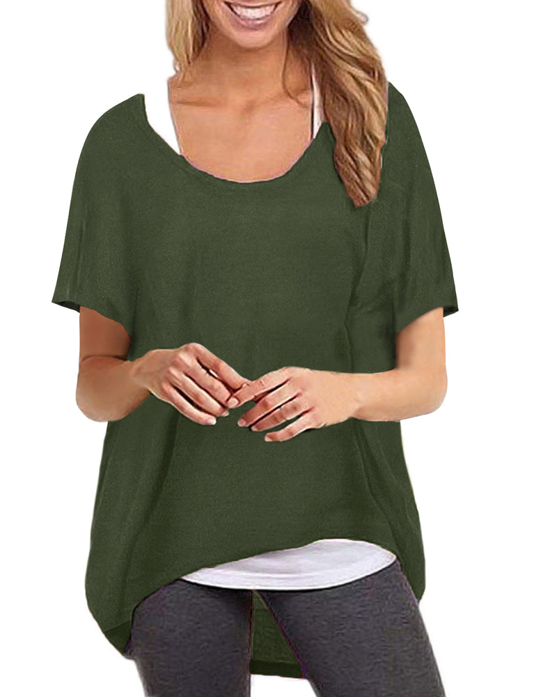 Women's Batwing Short Sleeve Casual Tops Loose T-Shirt