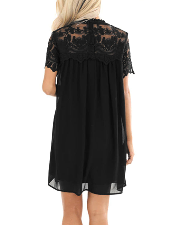 Lace Patchwork Solid Mini Dress Double layer