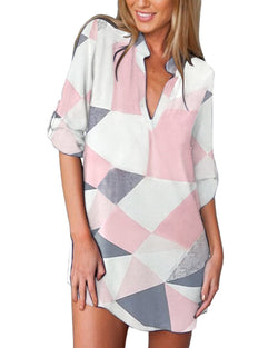 Chiffon Geometric Color Block Shirt Dress