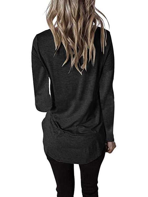 Women Crossed Front V Neck Long Sleeve Solid Color T-Shirt