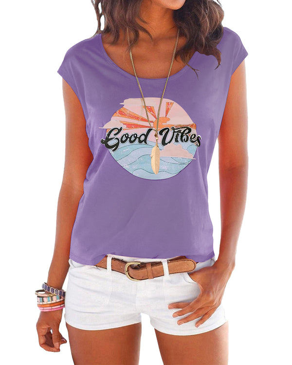 Women Short Sleeves T-Shirt Letter Print Round Neck Cute