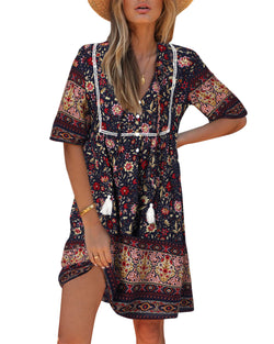 Women Floral Print Beach Bohemian Mini Dress