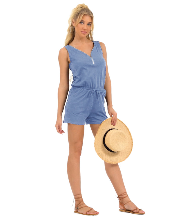 Womens Short Romper Sleeveless Romper V Neck Half Zip Cute With Pockets