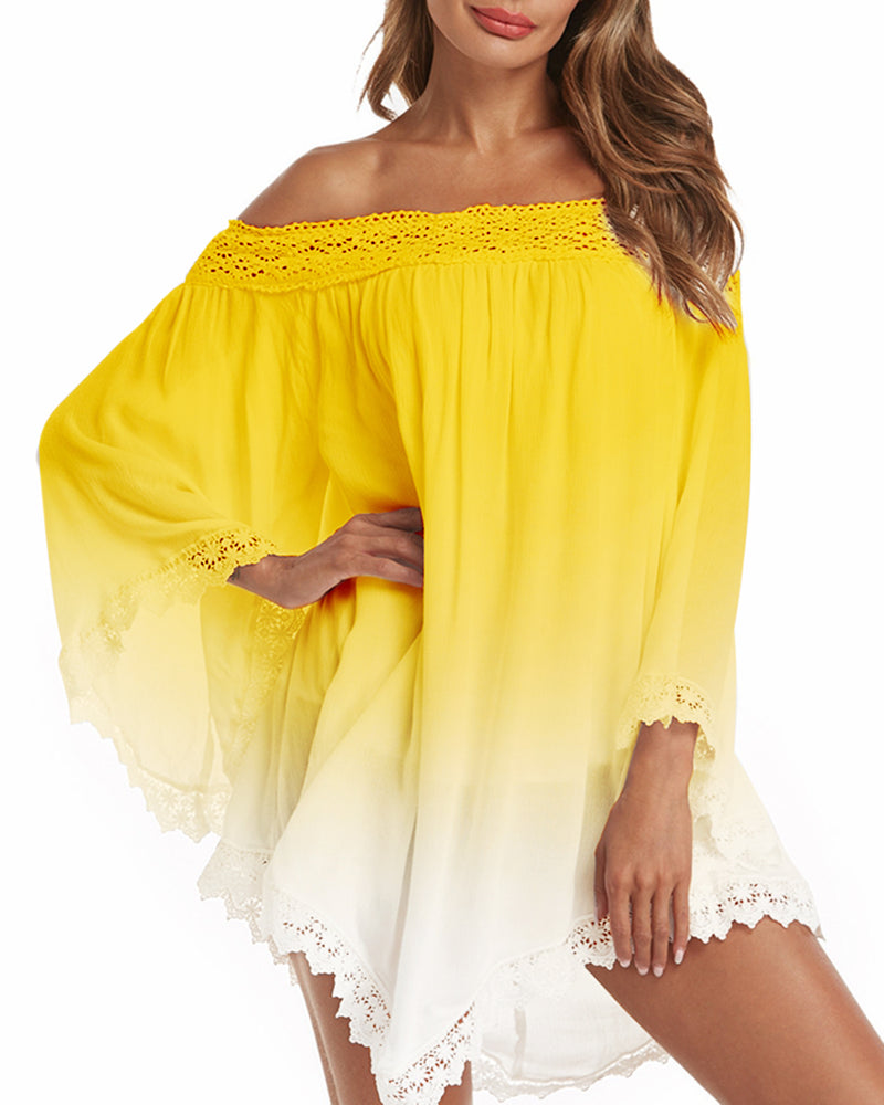 Women Sexy Off Shoulder Loose Gradient Mini Dress