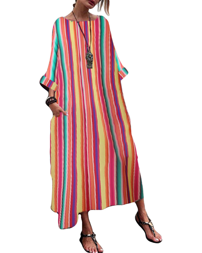 Women Loose 3/4 Sleeve Striped Casual Round Neck Maxi Dress