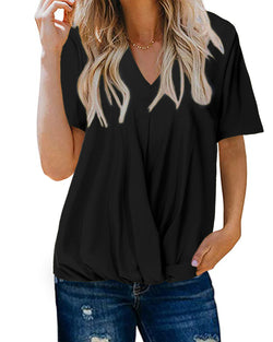 Women's Loose V Neck Twist Knot T Shirts Short Sleeve Casual Pleated