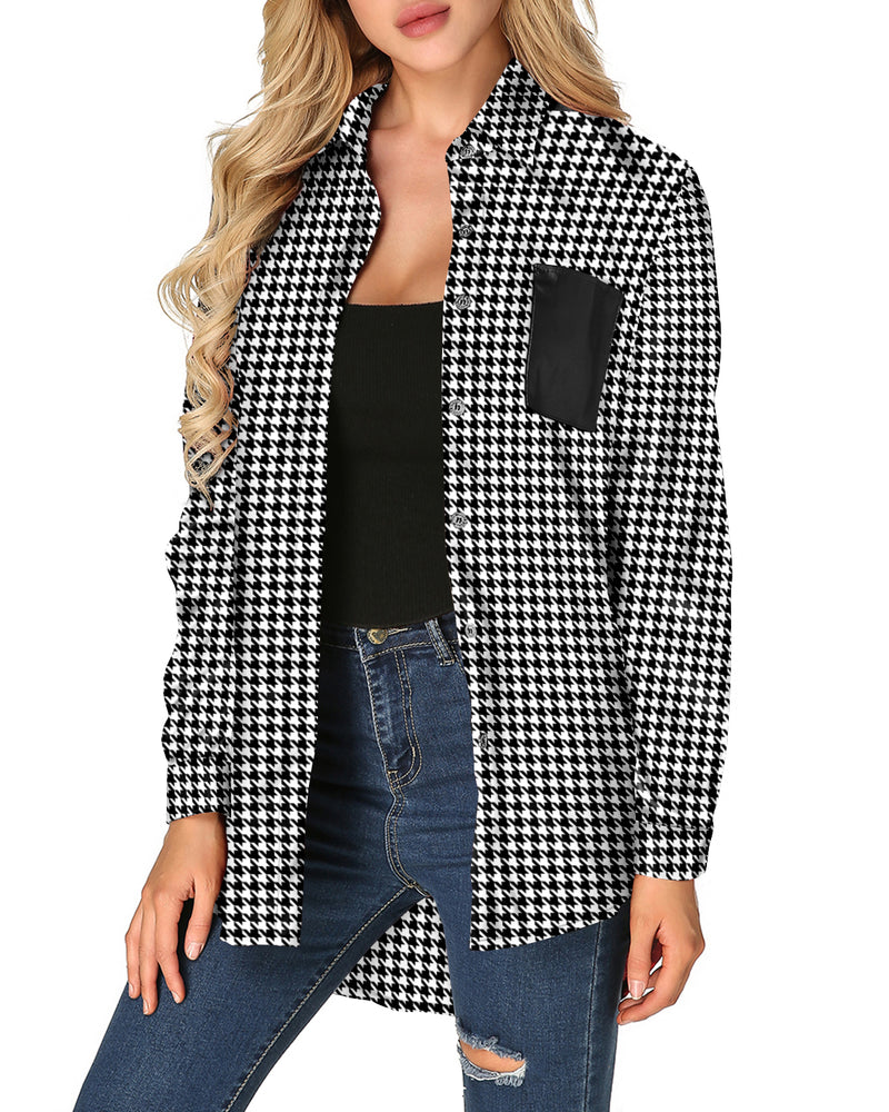 Women Plaid Casual Loose Button Shirt Tops with Pockets