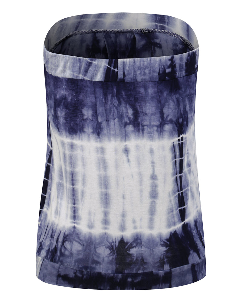 Women's Sleeveless Tie Dye Off Shoulder Pleated Tube Tops