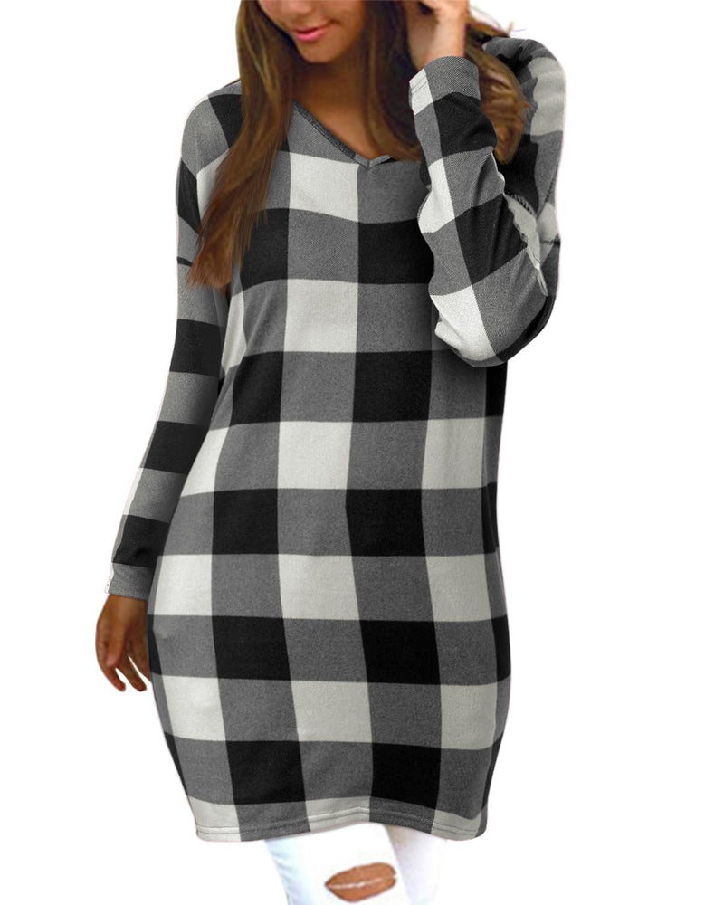 Comfy Plaid Casual Loose Knit Tunic Tops For Women