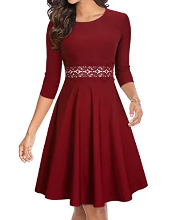 Women Party Lace Vintage Chic Casual A-line Midi Dress