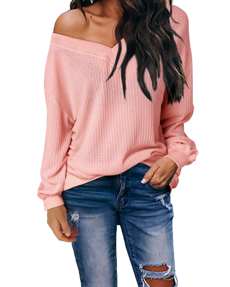 Women's Off Shoulder Pullover Batwing Sleeve Sweater