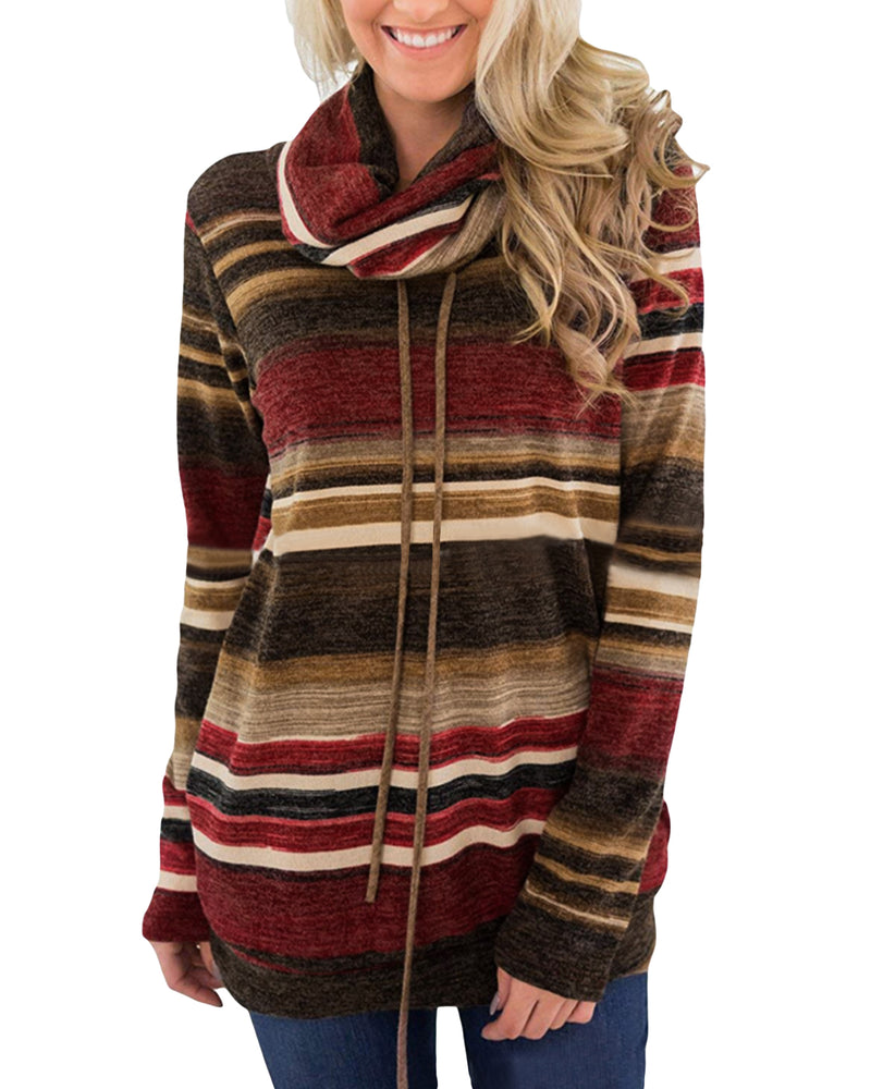 Color Block Striped Cowl Neck Drawstring Pullover