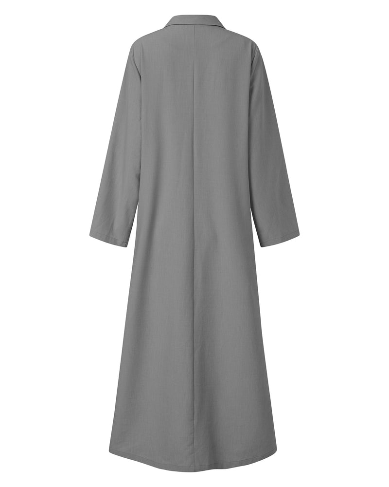 Women's 3/4 Sleeve Casual Solid Side Split Maxi Long Dress