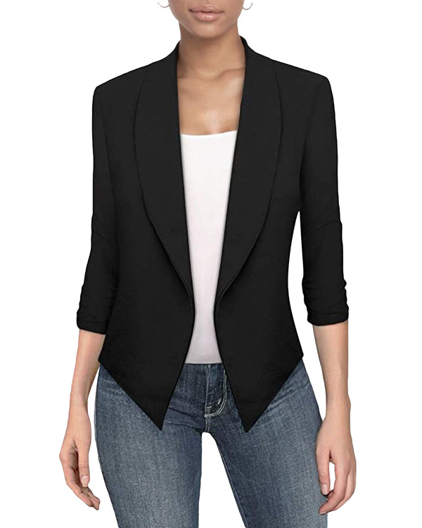 Women's Button Long Sleeve Solid Color Blazer