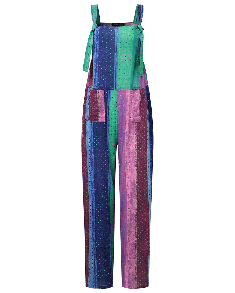 Women's Color Block Overall Baggy Wide Leg Loose