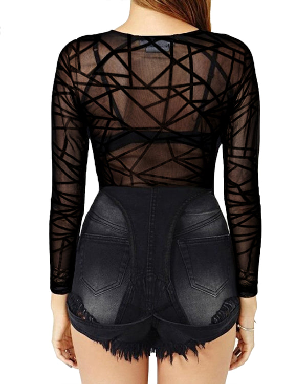 Womens Mesh See Through Sexy Cover Ups Blouse