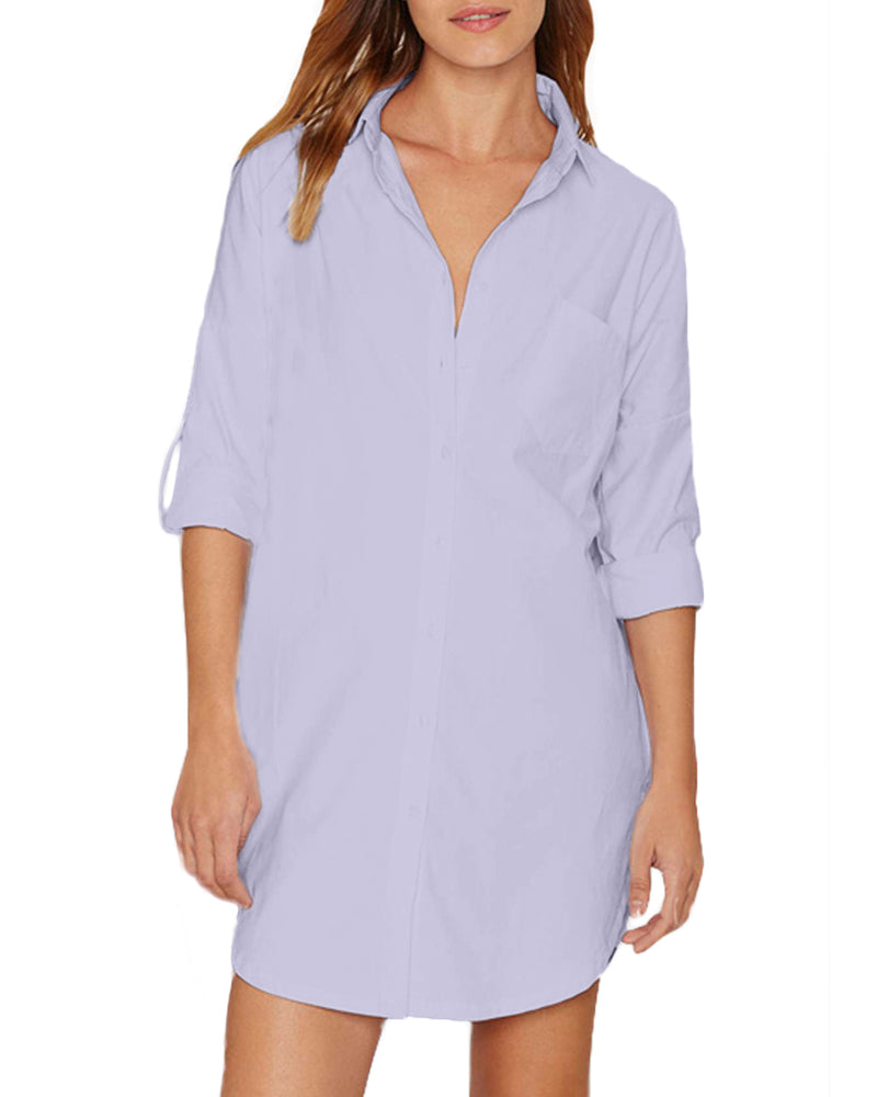 Women Solid Color V Neck Pocket Charade Shirt Dress