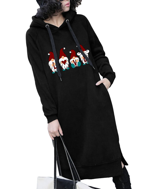 Women's  Christmas Print Casual Slim Lengthen Pockets Hoodie
