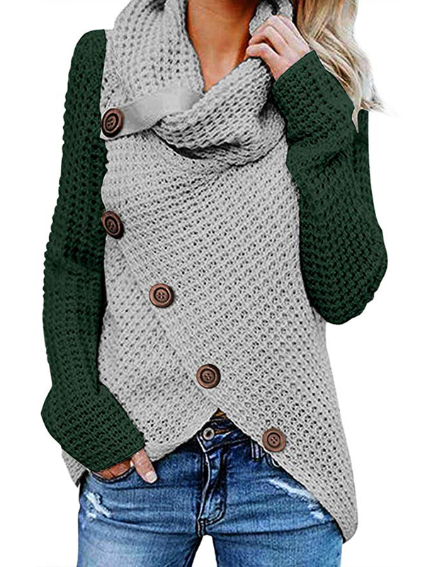 Women's Chunky Turtle Color Block Patchwork Cowl Neck Button Sweater