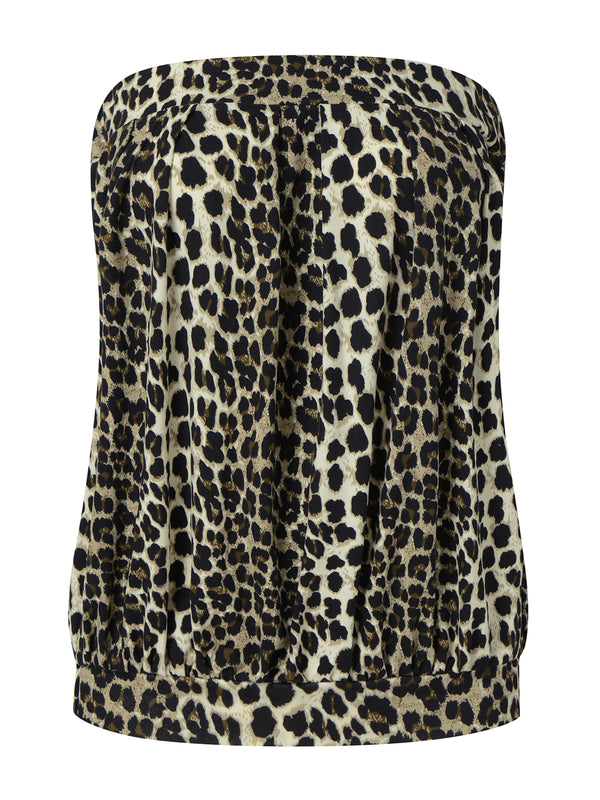 Women Sexy Leopard Off Shoulder Pleated Tube