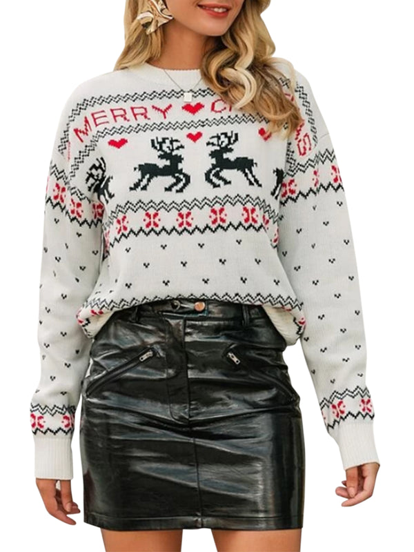 Women Casual Christmas Elk Cartoon Print Sweater