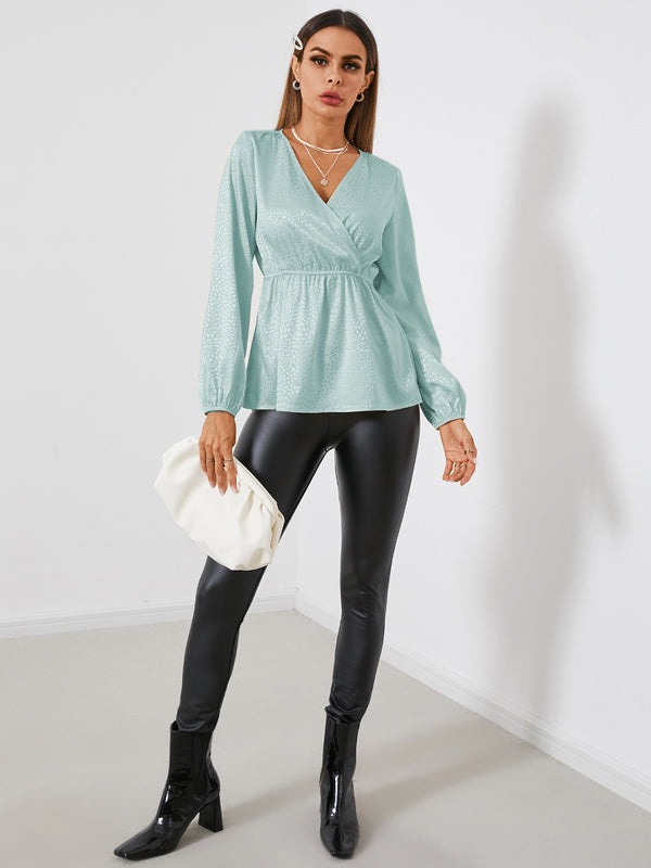 Solid Satin Jacquard V-neck Long Sleeves Blouse