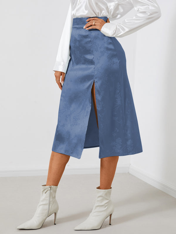 Women Solid Jacquard Satin Slit Hem Skirt