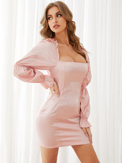 Solid Soft Satin Lantern Sleeves Square neck Mini Dress