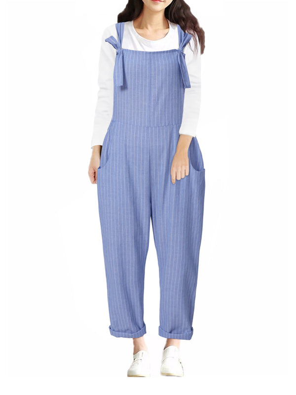 Striped Casual Lace-up Overall With Pockets