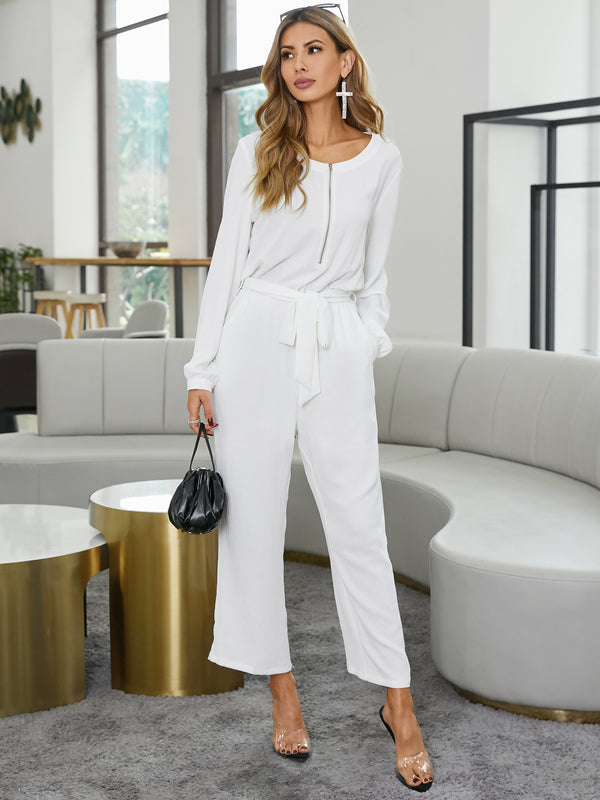 Womens Long Sleeve Solid Color Jumpsuit  Zip With Pockets