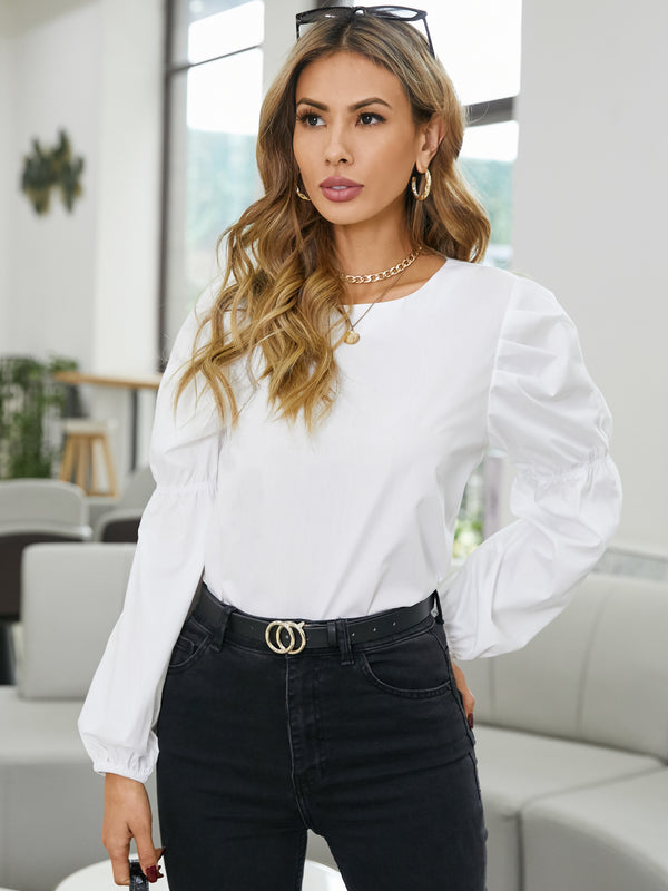 Lantern Sleeve Crew Neck Solid Blouse