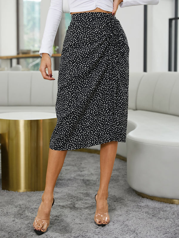 Women Elegant Polka Dot Drawstring Side Slit Hem Skirt