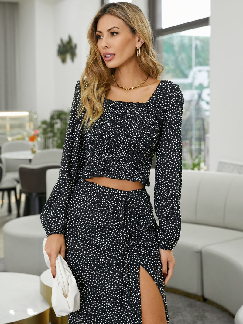 Womens Polka Dot Pleated Square Neck Crop Blouse