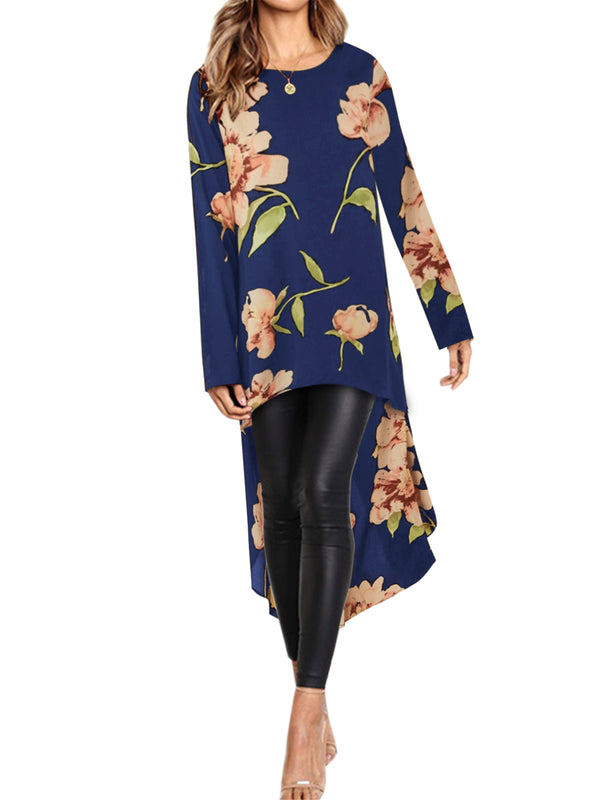 Long Sleeve Crew Neck High-low Hem Floral Tunic Top