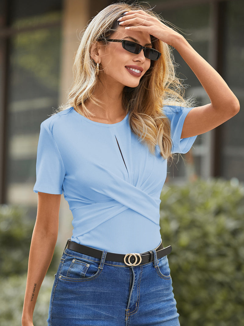 Women Casual Solid Blouse Sexy Casual Criss-Cross
