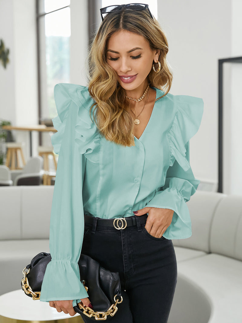 Women Chic Fashion Solid Ruffle Blouses Loose Button