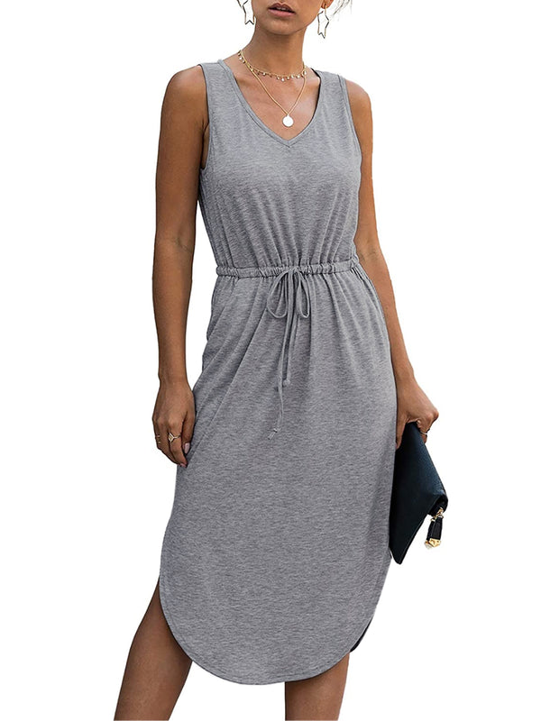 Women Casual Solid Color Drawstring Comfy Midi Dress