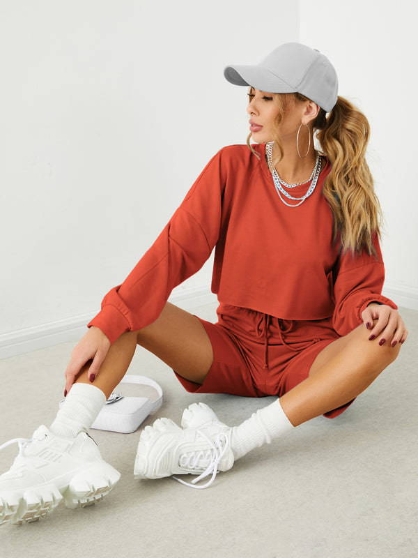 Drawstring Crew Neck Long Sleeves Top & Shorts Set