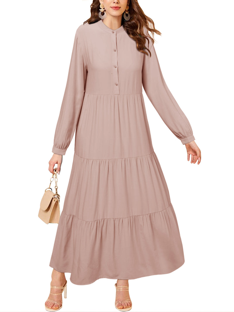 Solid Color Maxi Dress Summer Casual Long Beach Long Sleeves
