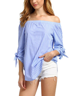 Womens Off The Shoulder Stripe Sexy Blouse
