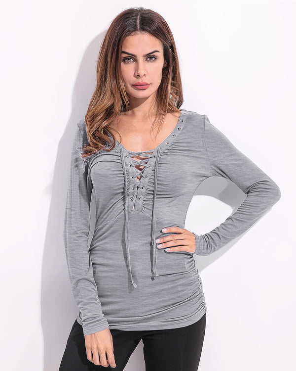Solid Color Henley Shirt for Women V Neck Lacing Ribbed Slim Casual Inside Tops
