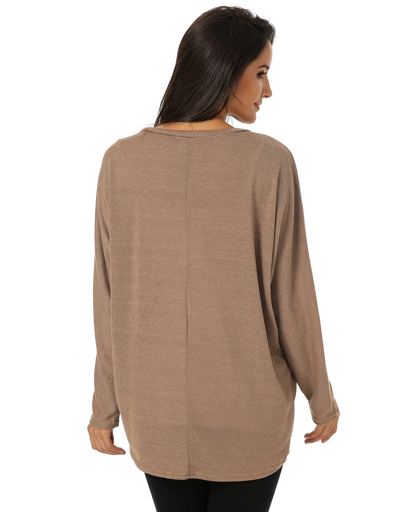 Women Tops Batwing Sleeve Oversized Pullover - Coendy