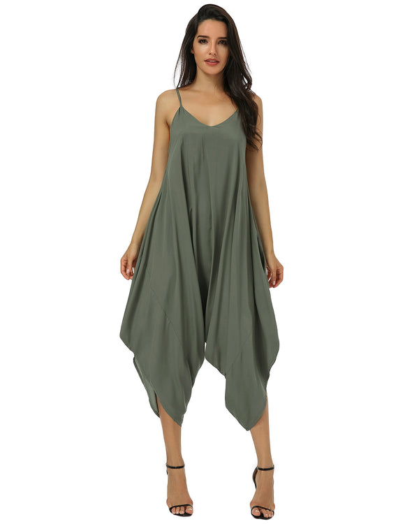 Women V Neck Summer Romper One Piece Jumpsuit - Coendy