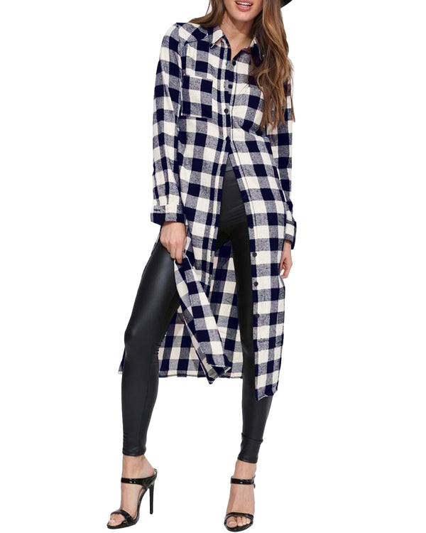Women Blouses Buffalo Check Plaid Long Sleeve Casual Button Down Shirts
