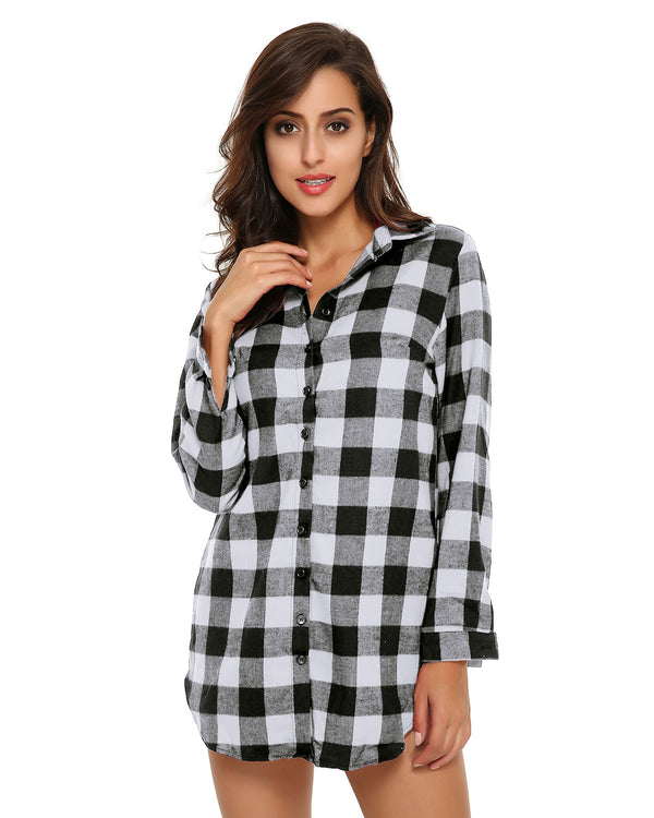 Women Buffalo Check Plaid Casual Button-Down Shirts - Coendy