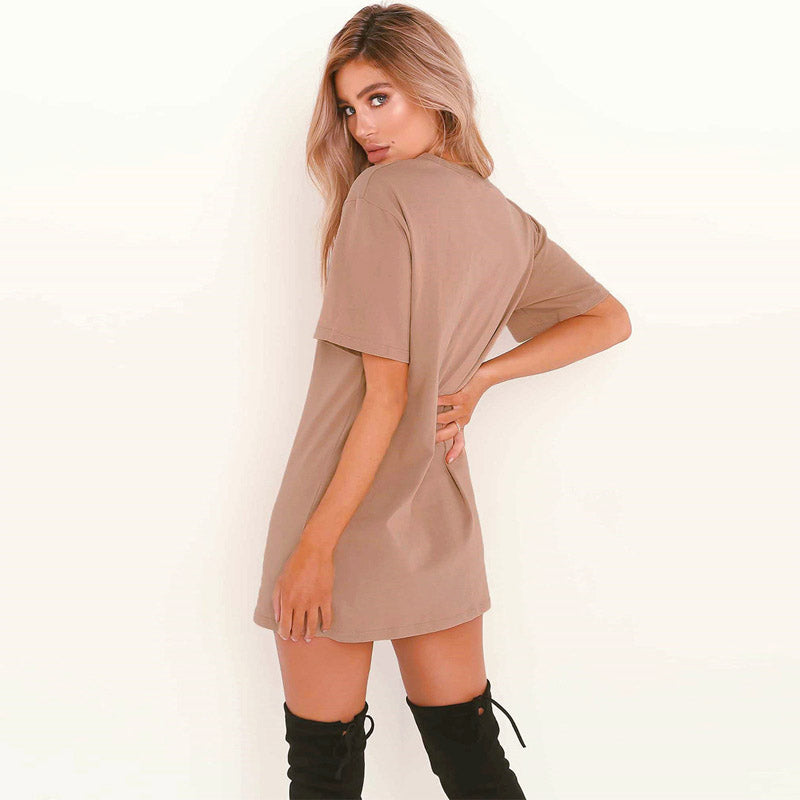 Women Choker Sexy Juniors Mini Dress Solid Color - Coendy