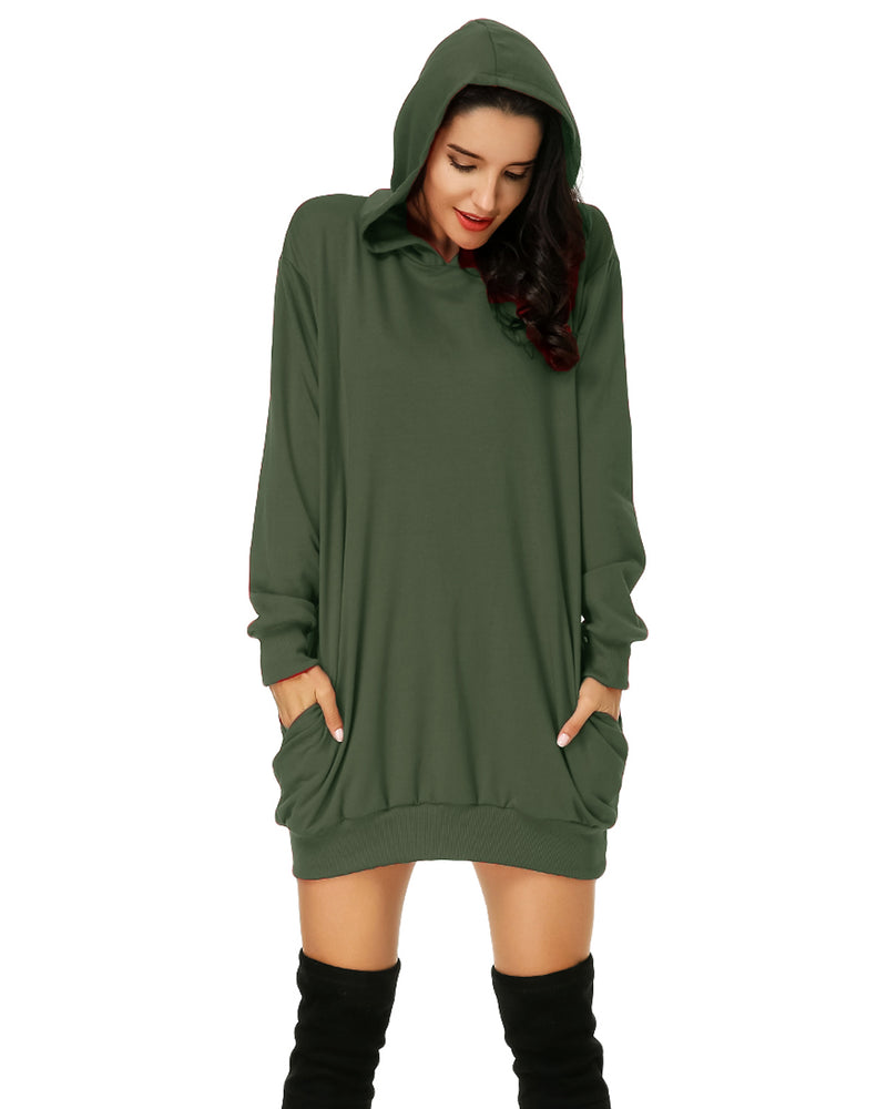 Women's Hooded Pockets Pullover Hoodie Dress - Coendy